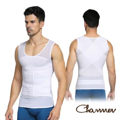 Charmen NY041輕薄束胸三段排扣收腹塑腰背心 男性塑身衣 白色