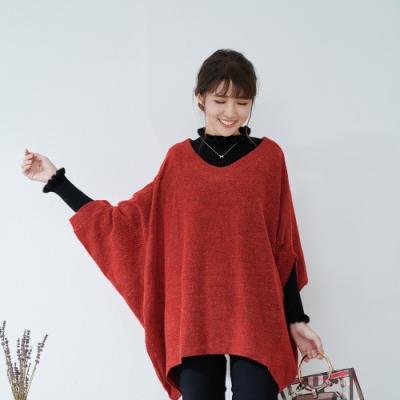 KatieQ 慵懶風寬鬆混織蝙蝠袖針織上衣- 紅色