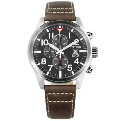 CITIZEN 星辰表 三眼計時日期日本機芯防水100米真皮手錶-深灰x褐/43mm