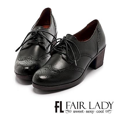 Fair Lady 復古知性綁帶牛津粗跟踝靴 黑
