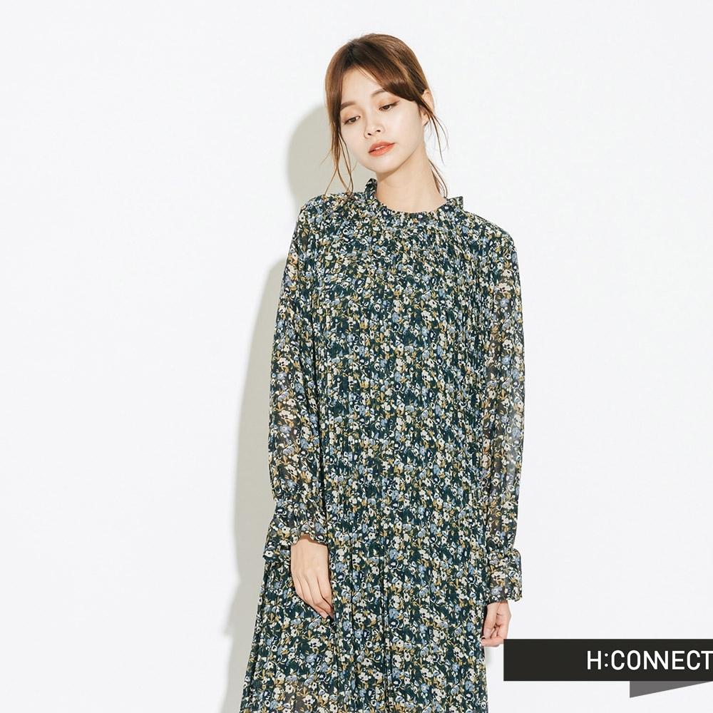 H:CONNECT 韓國品牌 女裝-小立領飄逸碎花洋裝-綠