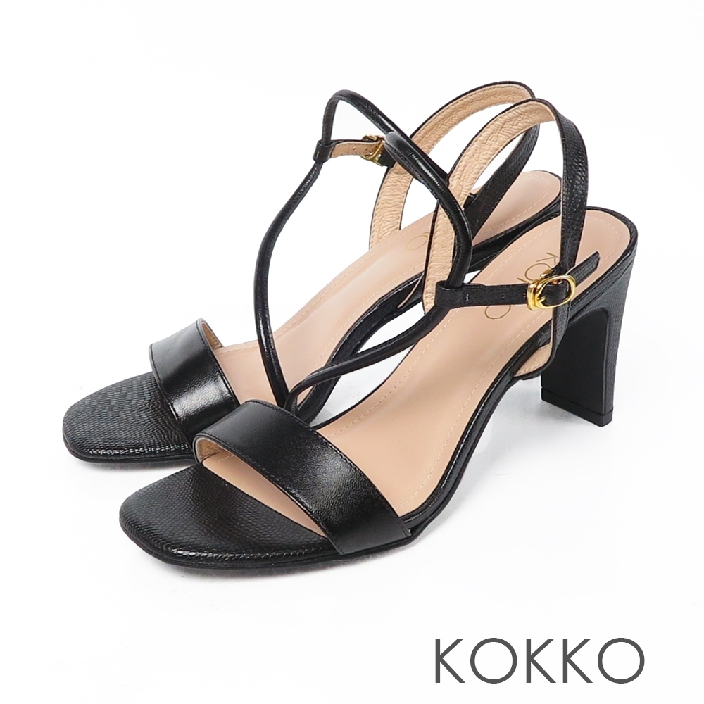 KOKKO 獨特魅力異材拼接方頭細帶涼拖鞋 經典黑