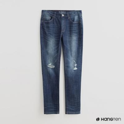 Hang Ten - 男裝 - 經典刷色微磨破牛仔長褲 - 藍