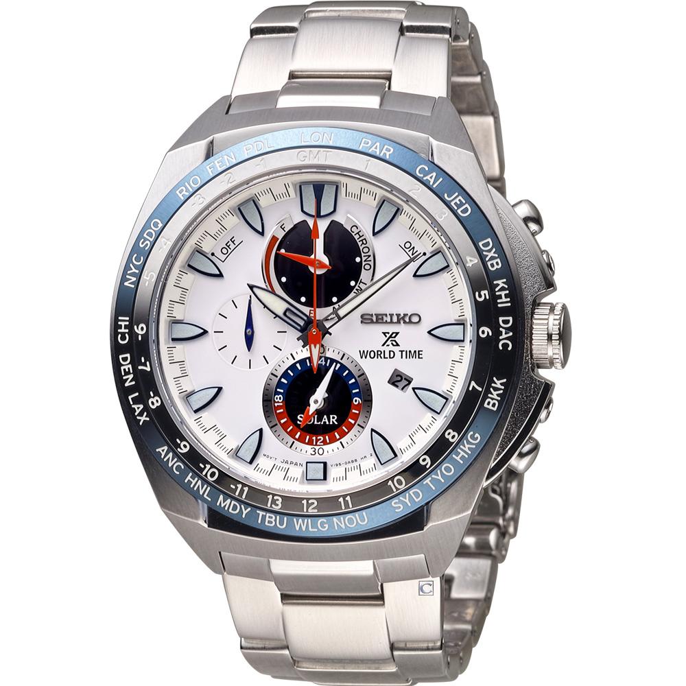 SEIKO PROSPEX 兩地時間太陽能運動錶(SSC485P1)白/48mm