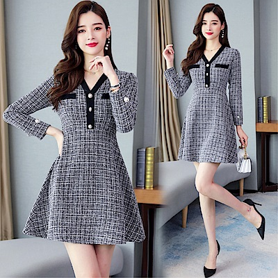 DABI 韓系優雅氣質V領紐扣小香風黑白格紋長袖洋裝