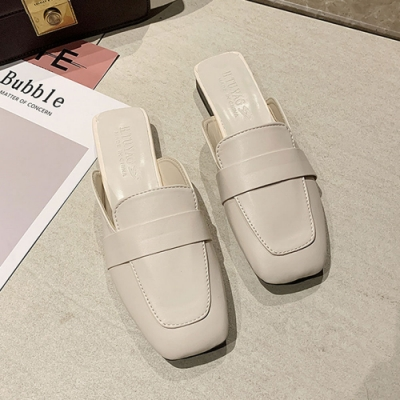 KEITH-WILL時尚鞋館 時尚風格簡約素面穆勒鞋-米白