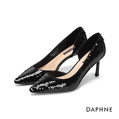 達芙妮DAPHNE 高跟鞋-亮片布面側挖空高跟鞋-黑
