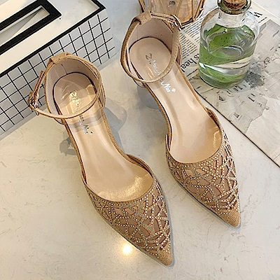 KEITH-WILL時尚鞋館 獨家款百搭造型碎鑽小跟鞋-駝色