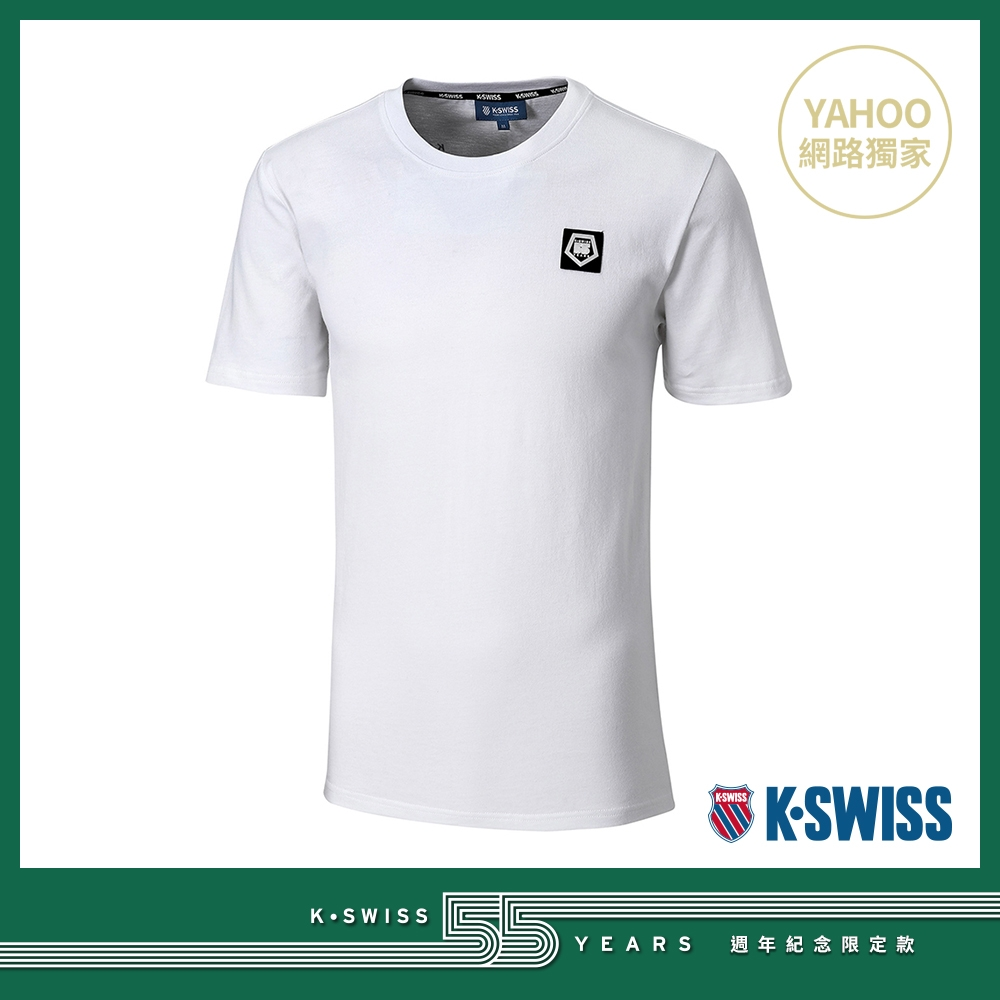 K-SWISS 55TH LOGO PATCH TEE棉質T恤-女-白