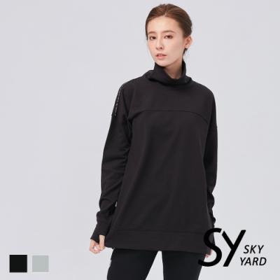 【SKY YARD 天空花園】立領織帶長袖衛衣-黑色