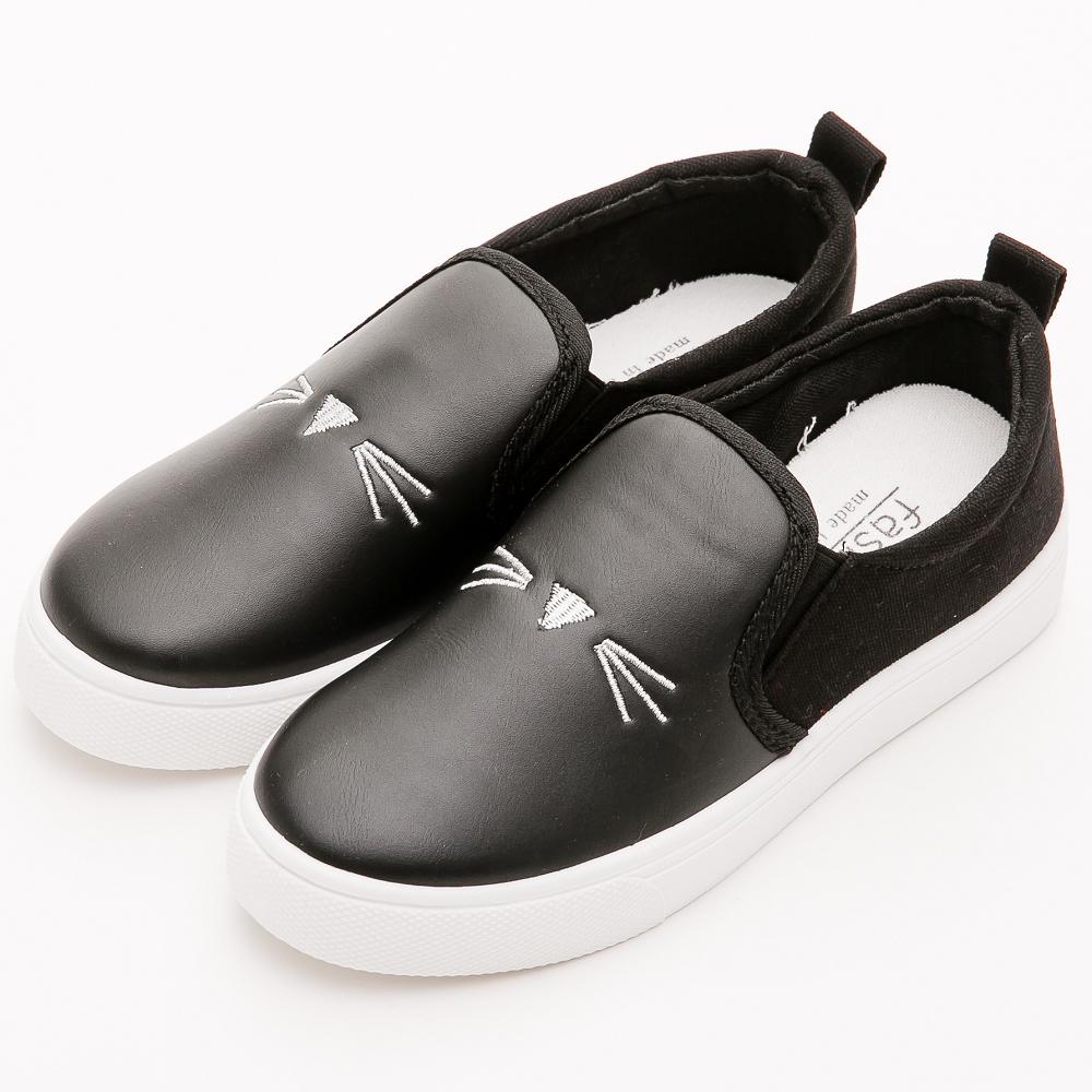 River&Moon休閒鞋- 樂活舒適刺繡貓咪拼接懶人鞋-黑