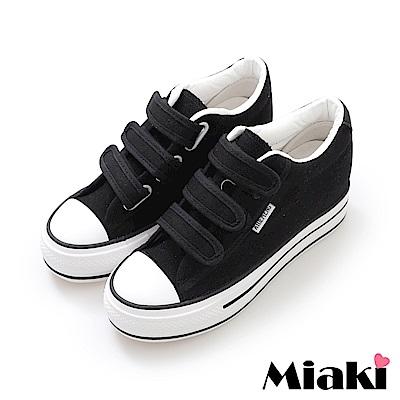 Miaki-帆布鞋.學院風加厚底休閒鞋-黑