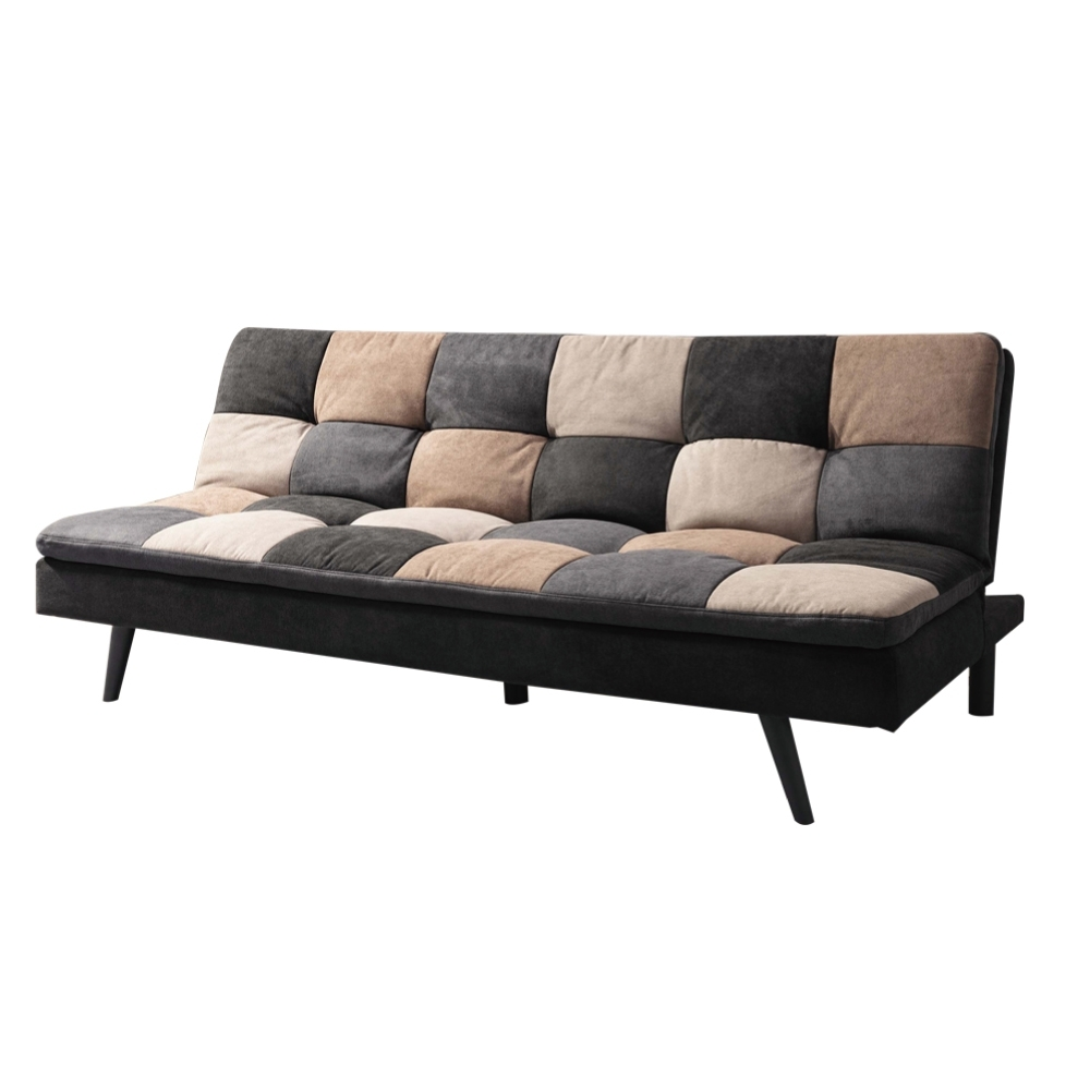 文創集 艾維拼色風棉滌布機能沙發/沙發床(展開式機能設計)-190x104x43cm免組