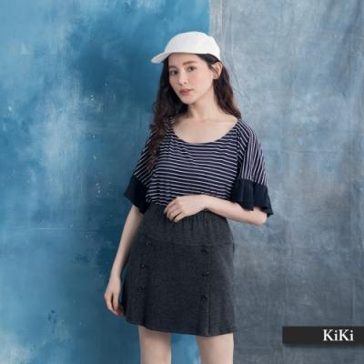 【KiKi】袖口荷葉條紋-女短袖上衣(二色/版型寬鬆)