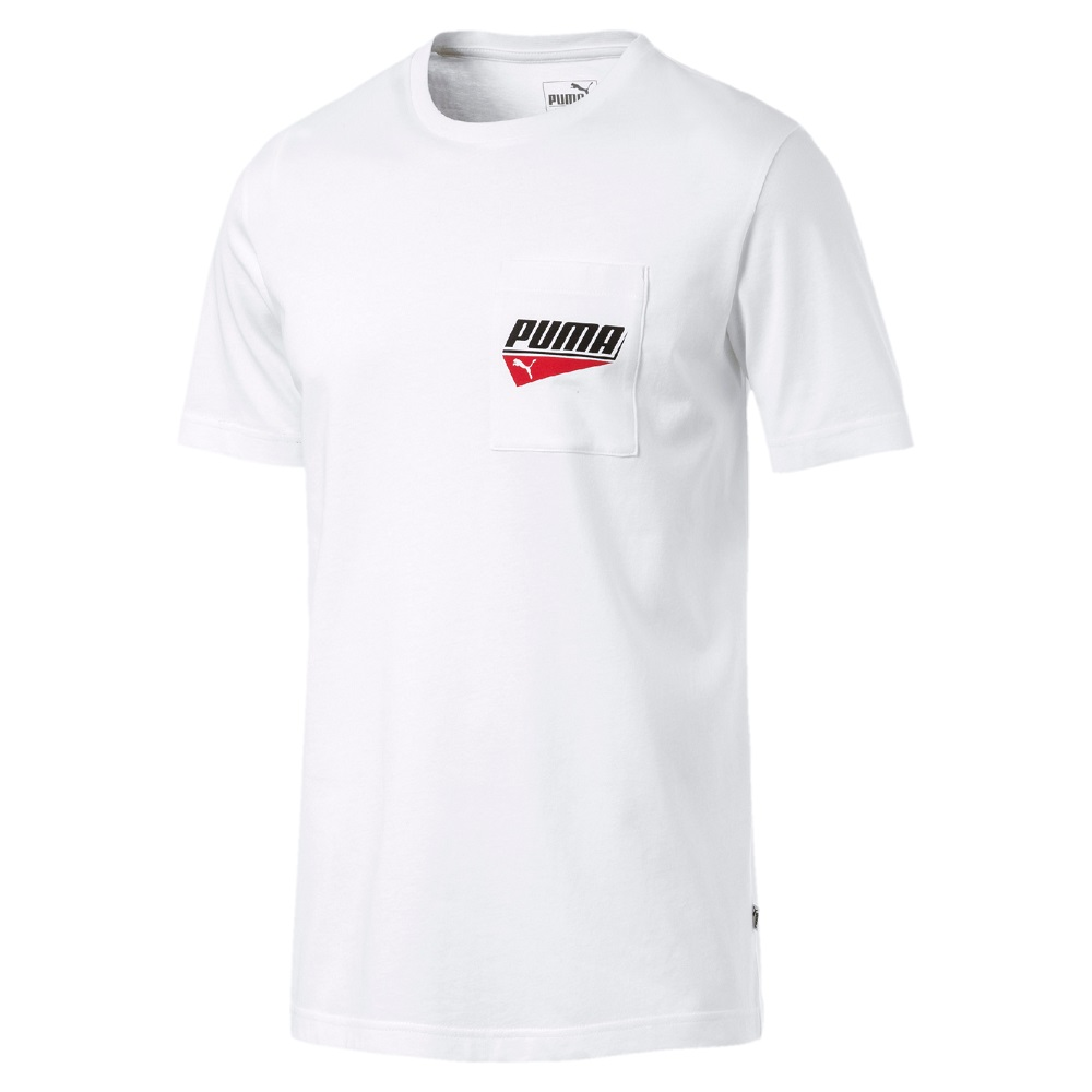 PUMA-男性基本系列Puma 口袋短袖T恤-白色-亞規
