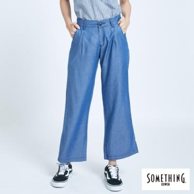 SOMETHING 天絲輕薄 八分牛仔褲-女-原藍磨
