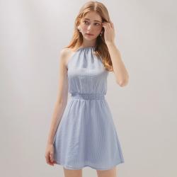 AIR SPACE 直紋削肩鬆緊短洋裝(藍)