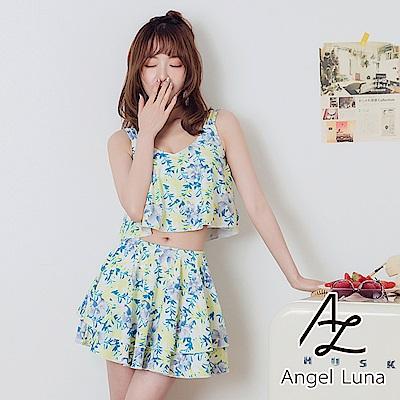 【AngelLuna日本泳裝】 黃色印花荷葉褲裙兩件式比基尼泳衣