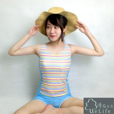 優衣生活ueLife 青少女兩件式泳裝附泳帽 珊瑚藍條紋(G905藍色)