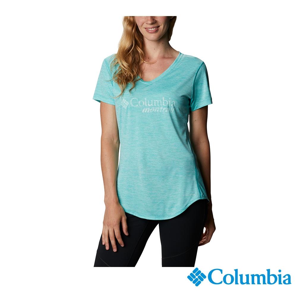 Columbia 哥倫比亞 男女 款- 野跑 UPF15 快排短袖上衣-6款 (女款 - 湖水藍色)
