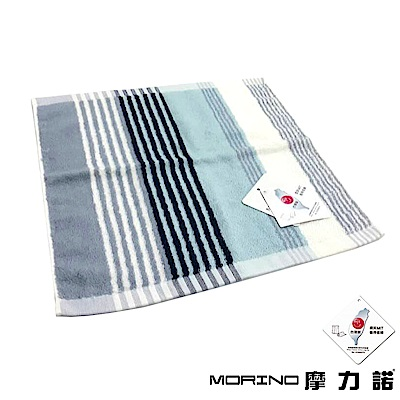 MORINO摩力諾 純棉彩條緹花方巾/手帕- 灰藍紋