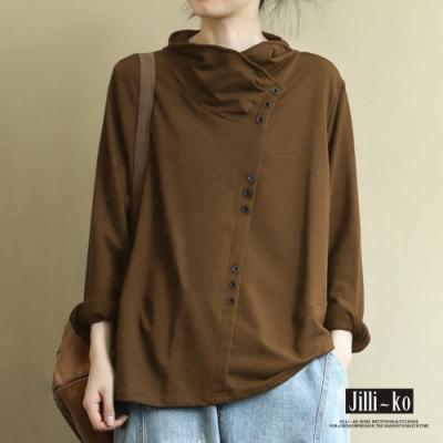 JILLI-KO 不對稱斜釦設計堆堆領寬鬆針織上衣- 黑/深卡