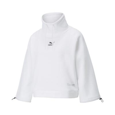 Puma 上衣 Interstellar Top 休閒 女款 套頭 寬袖 抽繩可調整 蔡依林款 刷毛保暖 白黑 53029902