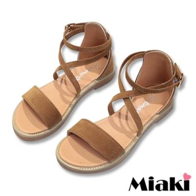 Miaki-涼鞋一字韓式細帶平底鞋-棕