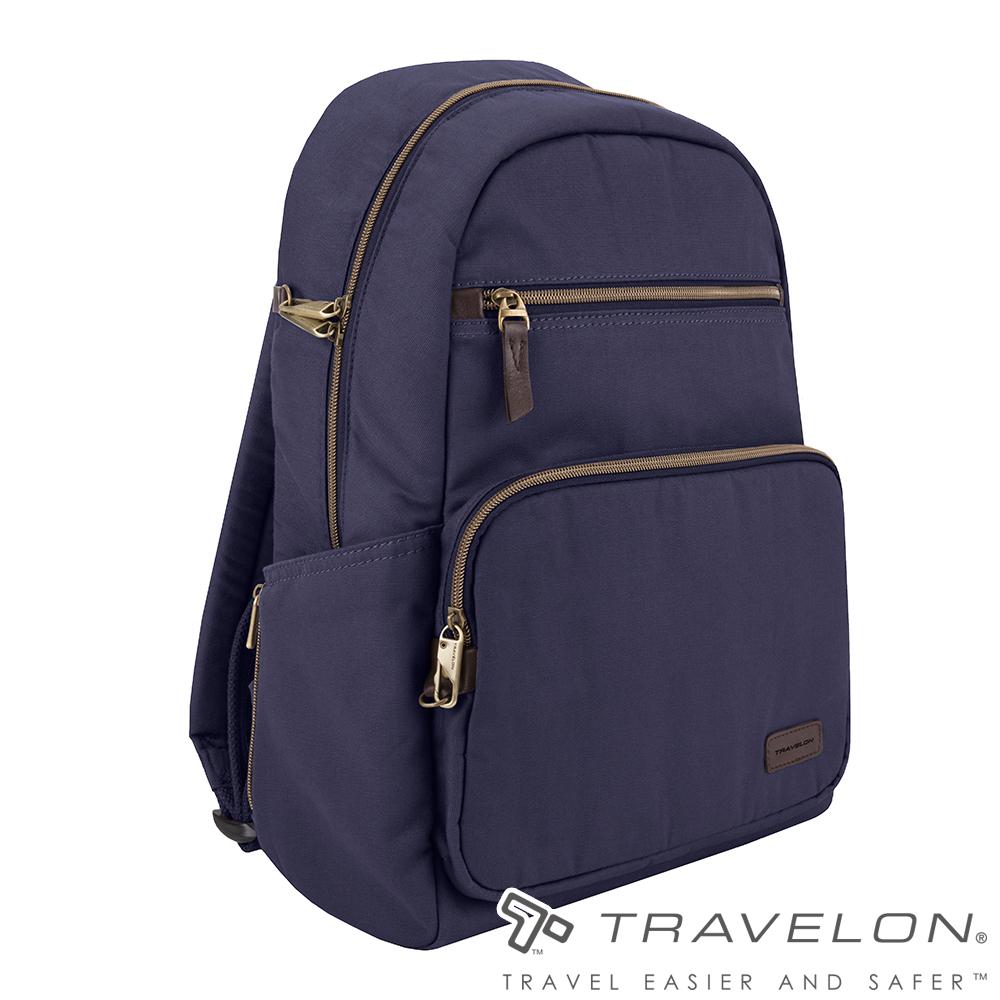 Travelon美國防盜包 防割鋼網休閒旅遊雙肩後背包/帆布書包TL-33307-18靛藍