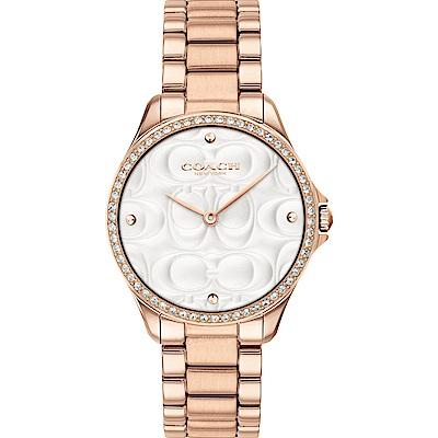 COACH 雙C浮雕 閃耀晶鑽女錶(14503072)-玫瑰金/38mm