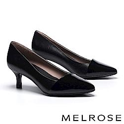 高跟鞋 MELROSE 極簡主義異材質珠光亮皮拼接羊皮尖頭高跟鞋-黑