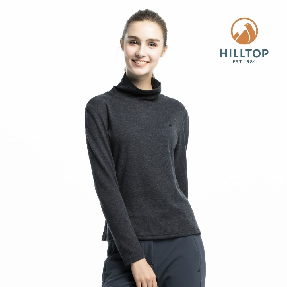 【hilltop山頂鳥】女款保暖抗菌長袖薄上衣H51FJ4黑美人