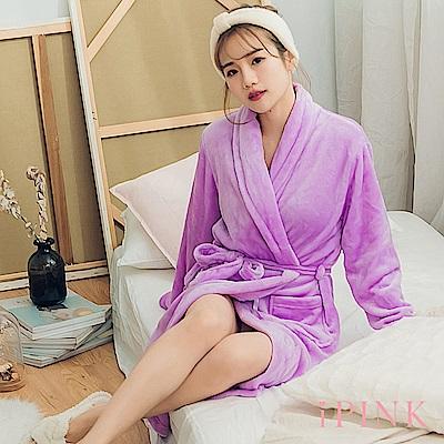 i PINK 冬日必備 基本素色保暖法蘭絨睡袍(紫)