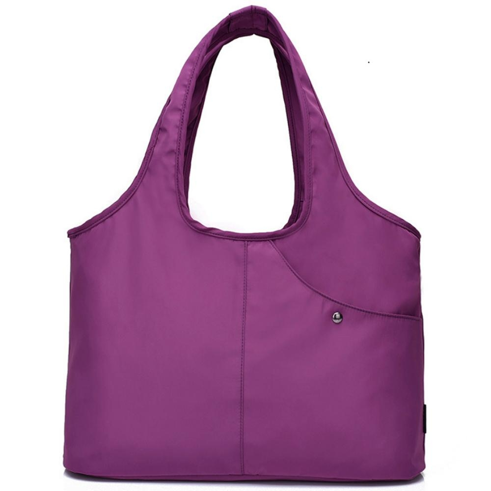 I.Dear-休閒男女大容量牛津布斜紋可水洗百搭購物肩背包(BG76紫色)