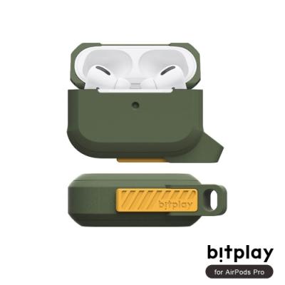 bitplay AirPods Pro 矽膠抗震機能撞色全方位保護套(附可拆掛鉤)-Green綠