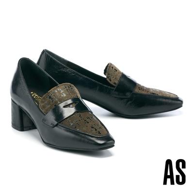 低跟鞋 AS 復古知性撞色異材質牛油皮方頭樂福高跟鞋-黑