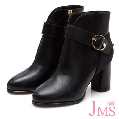 JMS-典雅時尚鑽飾拼接粗高跟短靴-黑色