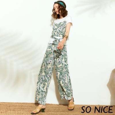 SO NICE俏麗葉形印花造型寬褲