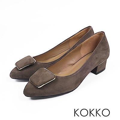 KOKKO - 通勤時尚方扣羊皮跟鞋-橄欖綠