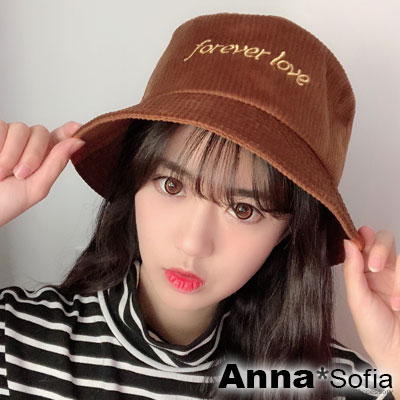 【出清3件5折】AnnaSofia 直條亮絨forever love 軟式漁夫帽盆帽(磚咖系)