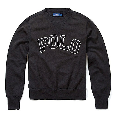 Polo Rlaph Lauren 年度熱銷經典刺繡標誌鋪棉大學T恤-黑色