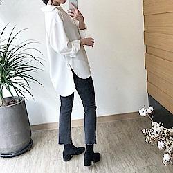 韓國空運 長版雪紡襯衫-2色-TMH