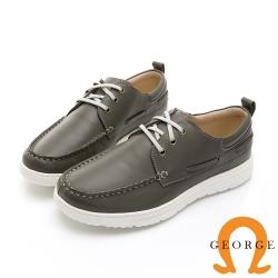 GEORGE喬治皮鞋 輕量系列 輕量真皮繫帶休閒鞋-灰