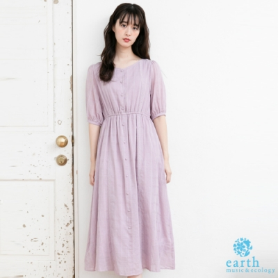 earth music 格紋蕾絲拼接V領高腰蓬袖剪裁洋裝