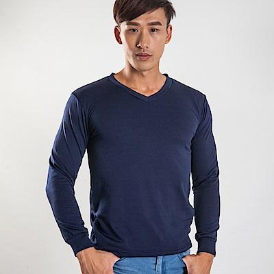 G+居家 男款束口刷毛暖暖衣-V領-深藍