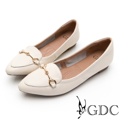 GDC-小清新粉嫩色系北歐風真皮金屬釦飾尖頭平底鞋-米色
