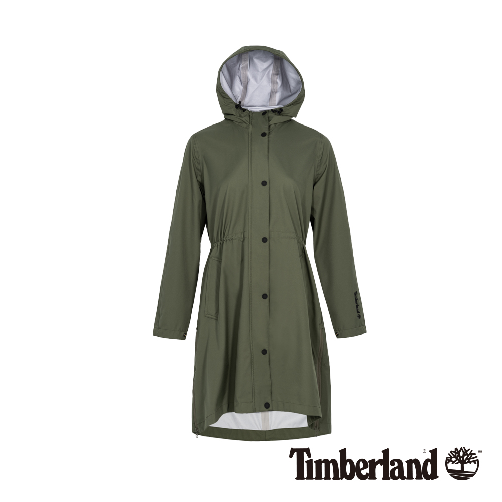Timberland 女款葡萄葉綠色連帽防水長版派克外套|B3806
