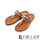 Fair Lady 皮革拼接水鑽夾腳涼拖鞋 棕