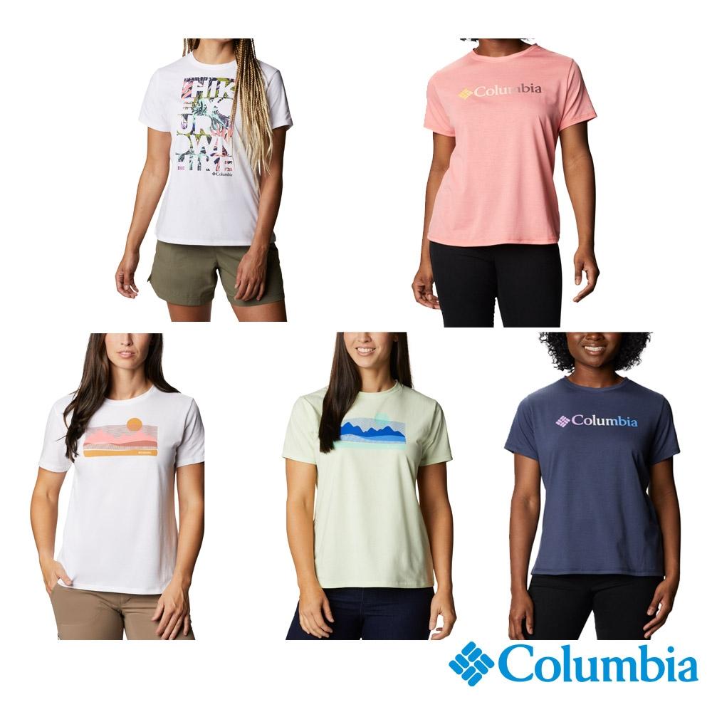 Columbia 哥倫比亞 女款- UPF50快排LOGO短袖上衣-5色  UAR21910 (白色)