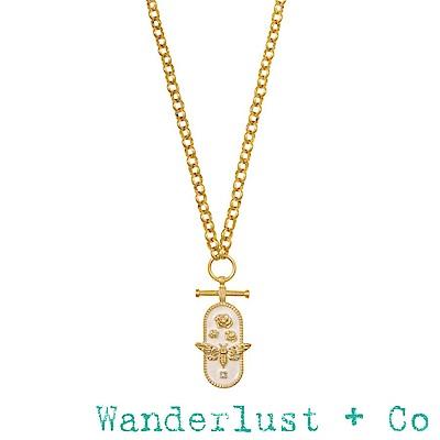 Wanderlust+Co 澳洲品牌 玫瑰花X蜜蜂X水晶 白色琺瑯金色項鍊 FLUTTER